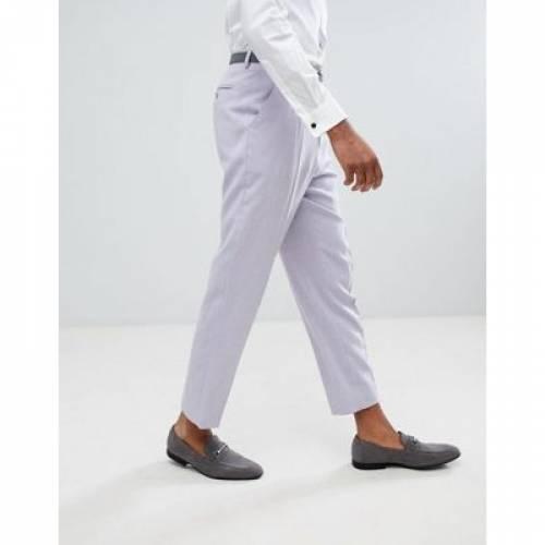 メンズファッション ズボン パンツ 【 ASOS DESIGN TALL TAPERED SMART TROUSERS IN LILAC CROSS HATCH NEPP 】
