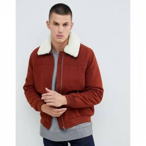 茶 ブラウン メンズファッション コート ジャケット 【 BROWN ASOS DESIGN HARRINGTON JACKET WITH BORG COLLAR IN 】