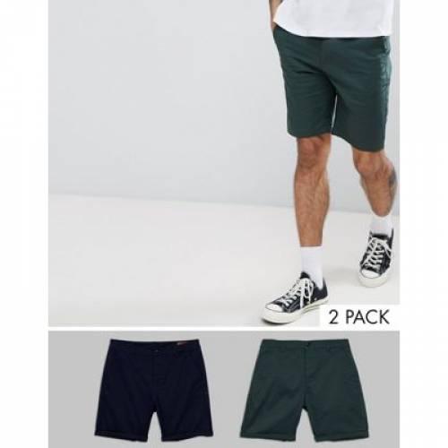 スリム チノ ショーツ ハーフパンツ 紺 ネイビー 緑 グリーン & メンズファッション 学生服 ズボン パンツ 【 SLIM NAVY GREEN ASOS DESIGN 2 PACK CHINO SHORTS IN BOTTLE SAVE 】