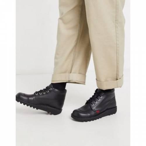 キック 黒 ブラック レザー メンズ ブーツ 【 BLACK KICKERS KICK HI BOOTS IN LEATHER 】