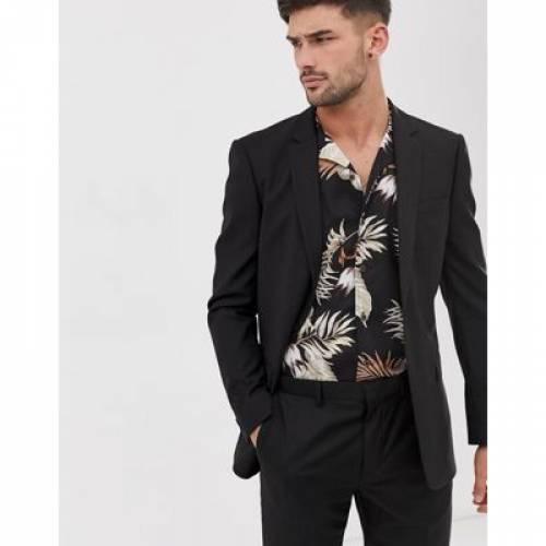 スリム 黒 ブラック メンズファッション コート ジャケット 【 SLIM BLACK TOPMAN SUIT JACKET IN 】 ※セットアップではありません