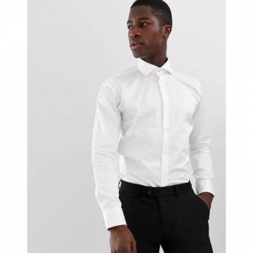スリム 白 ホワイト メンズファッション トップス 【 SLIM WHITE TED BAKER FIT SHIRT IN 】