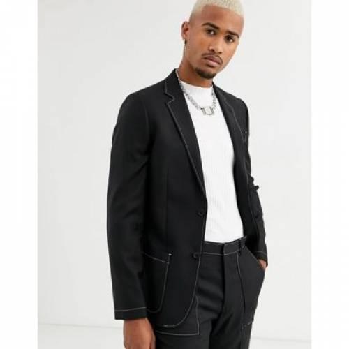 スリム 黒 ブラック 白 ホワイト メンズファッション コート ジャケット 【 SLIM BLACK WHITE ASOS DESIGN SUIT JACKET IN WITH CONTRAST STITCH DETAIL 】 ※セットアップではありません