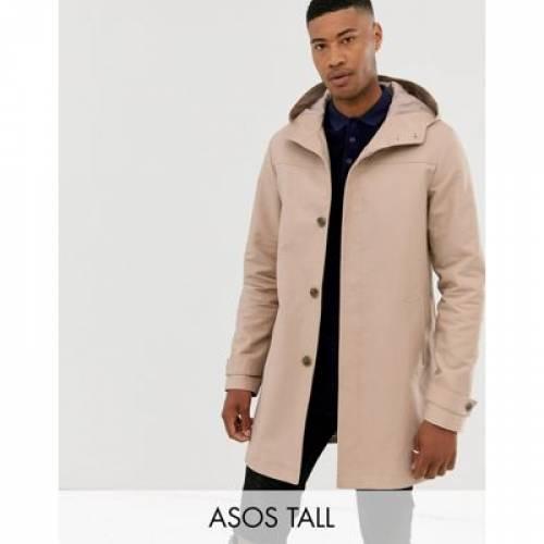 メンズファッション コート ジャケット 【 ASOS DESIGN TALL SHOWER RESISTANT HOODED TRENCH COAT IN STONE 】
