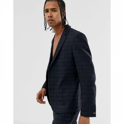 紺 ネイビー メンズファッション コート ジャケット 【 NAVY ASOS DESIGN RELAXED SUIT JACKET IN BROKEN CHECK 】 ※セットアップではありません