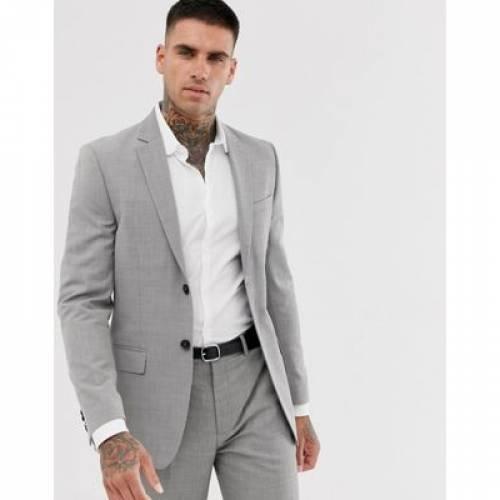 スリム 灰色 グレ メンズファッション コート ジャケット 【 SLIM TOPMAN SUIT JACKET IN GREY 】 ※セットアップではありません