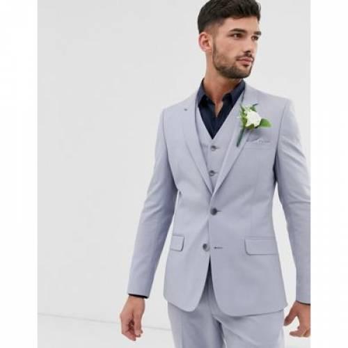 ケンタッキー 青 ブルー メンズファッション コート ジャケット 【 BLUE ASOS DESIGN WEDDING SKINNY SUIT JACKET IN KENTUCKY 】 ※セットアップではありません