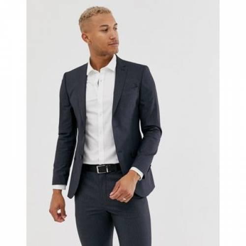 紺 ネイビー メンズファッション コート ジャケット 【 NAVY TOPMAN SUIT JACKET IN PINSTRIPE 】 ※セットアップではありません