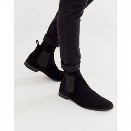 黒 ブラック スエード スウェード メンズ ブーツ 【 BLACK ASOS DESIGN CHELSEA BOOTS IN SUEDE WITH SOLE 】