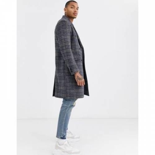 灰色 グレ メンズファッション コート ジャケット 【 TOPMAN OVERCOAT IN GREY CHECK 】