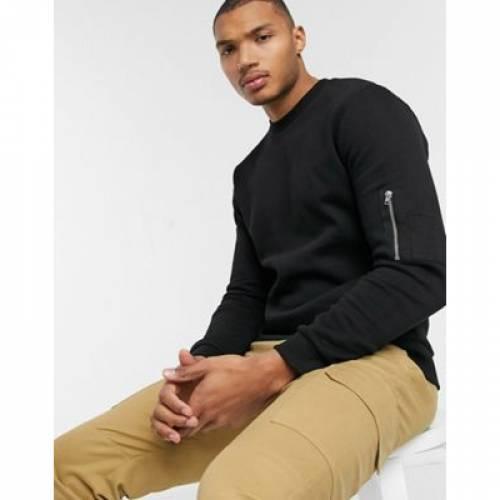 黒 ブラック メンズファッション トップス スウェット トレーナー 【 BLACK ASOS DESIGN SWEATSHIRT IN WITH MA1 POCKET 】