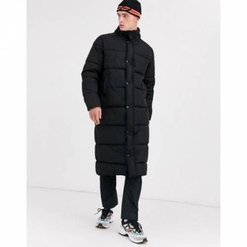 黒 ブラック メンズファッション コート ジャケット 【 BLACK ASOS DESIGN SUSTAINABLE PUFFER COAT WITH FUNNEL NECK IN 】