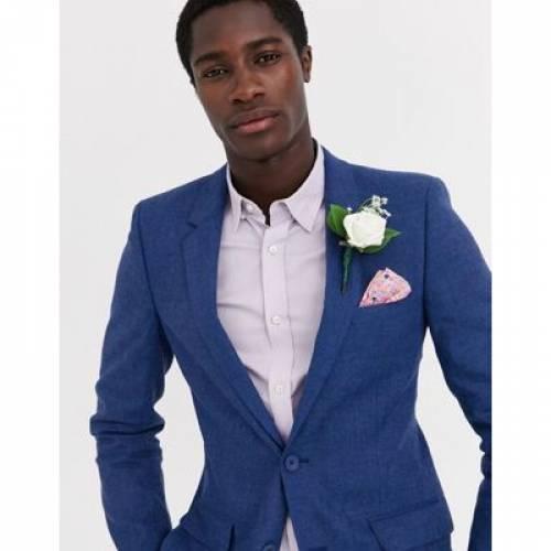 青 ブルー メンズファッション コート ジャケット 【 BLUE ASOS DESIGN WEDDING SKINNY SUIT JACKET IN MARL COTTON AND LINEN BLEND 】 ※セットアップではありません