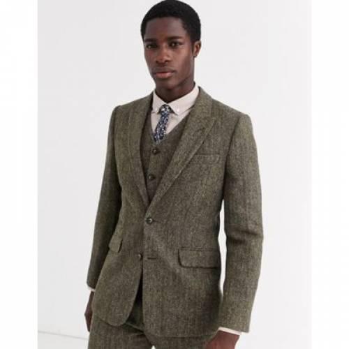 スリム 茶 ブラウン 100% メンズファッション コート ジャケット 【 SLIM BROWN ASOS DESIGN SUIT JACKET IN WOOL HARRIS TWEED HERRINGBONE 】 ※セットアップではありません