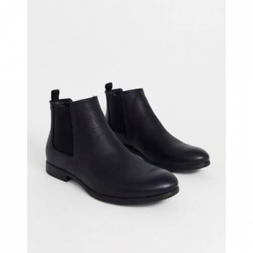 ブーツ 黒 ブラック & メンズ 【 BLACK JACK JONES PU CHELSEA BOOT IN 】