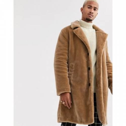 茶 ブラウン メンズファッション コート ジャケット 【 BROWN TOPMAN FAUX FUR JACKET IN 】