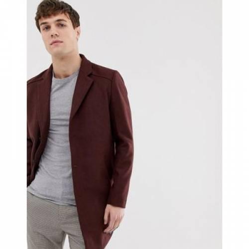 スリム ワイン色 バーガンディー 茶 ブラウン メンズファッション コート ジャケット 【 SLIM BROWN TOM TAILOR FIT BURGUNDY WOOL COAT 】
