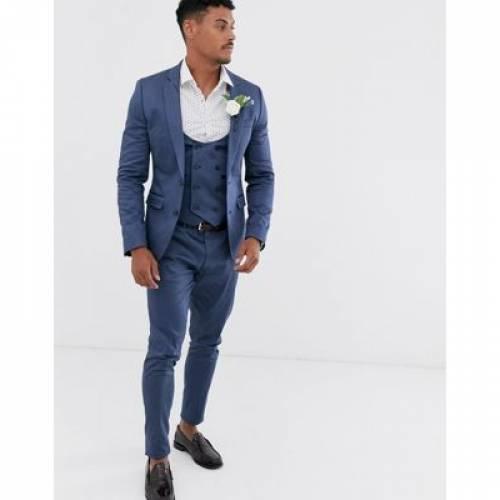 藍色 インディゴ 青 ブルー メンズファッション コート ジャケット 【 BLUE ASOS DESIGN WEDDING SUPER SKINNY SUIT JACKET IN STRETCH COTTON INDIGO 】 ※セットアップではありません