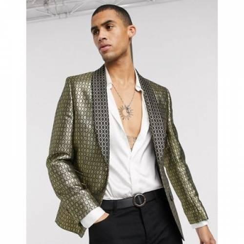 スリム 金色 ゴールド ダイヤモンド メンズファッション コート ジャケット 【 SLIM ASOS DESIGN JACKET IN GOLD DIAMOND JACQUARD 】