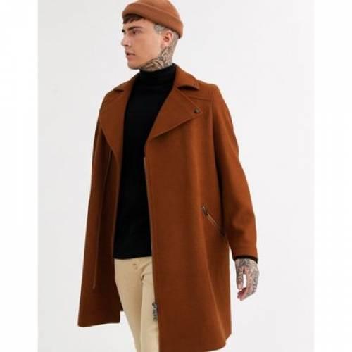 タバコ メンズファッション コート ジャケット 【 ASOS DESIGN WOOL MIX OVERCOAT IN TOBACCO WITH BIKER DETAILING 】
