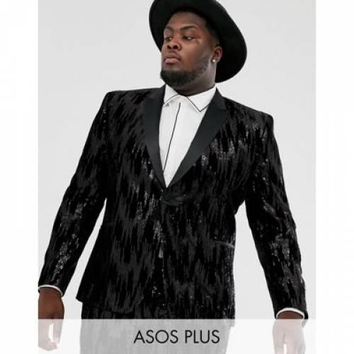 黒 ブラック メンズファッション コート ジャケット 【 BLACK ASOS DESIGN PLUS SKINNY SUIT JACKET IN VELVET AND SEQUINS 】 ※セットアップではありません