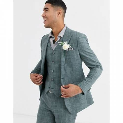 緑 グリーン メンズファッション コート ジャケット 【 GREEN ASOS DESIGN WEDDING SKINNY SUIT JACKET IN PINE CROSSHATCH 】 ※セットアップではありません