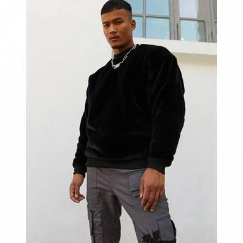 黒 ブラック メンズファッション トップス スウェット トレーナー 【 BLACK ASOS DESIGN OVERSIZED FAUX FUR SWEATSHIRT IN 】