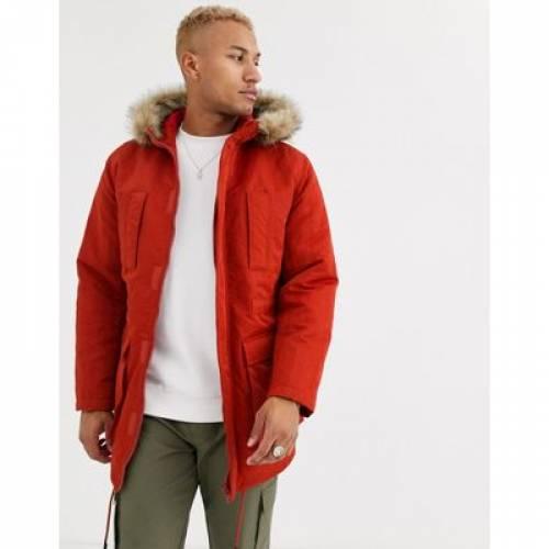 橙 オレンジ メンズファッション コート ジャケット 【 ORANGE ASOS DESIGN PARKA JACKET IN WITH FAUX FUR LINING 】