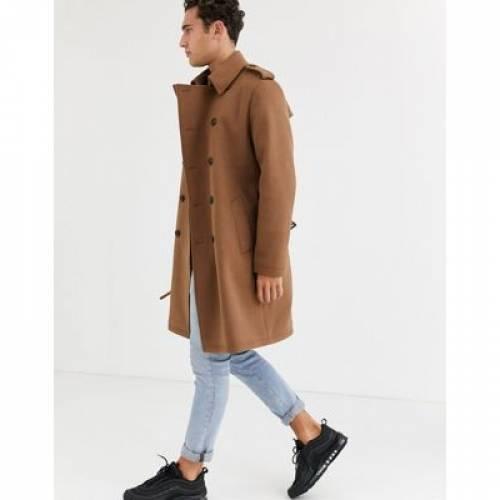 キャメル メンズファッション コート ジャケット 【 CAMEL ASOS DESIGN DOUBLE BREASTED TRENCH COAT IN 】
