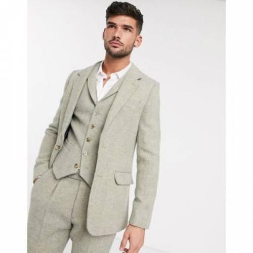 スリム 100% メンズファッション コート ジャケット 【 SLIM ASOS DESIGN SUIT JACKET IN WOOL HARRIS TWEED STONE HERRINGBONE 】 ※セットアップではありません