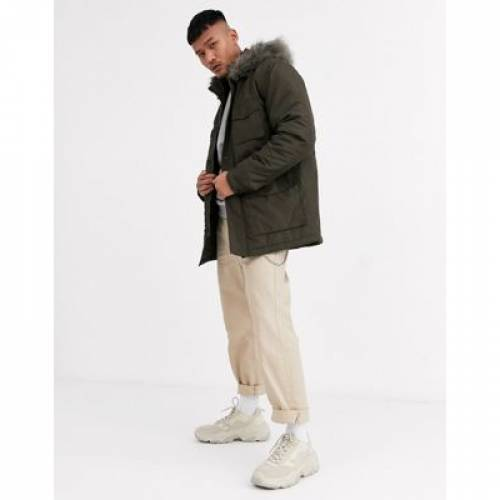 カーキ メンズファッション コート ジャケット 【 ASOS DESIGN HOODED PARKA WITH DETACHABLE FAUX FUR TRIM IN KHAKI 】