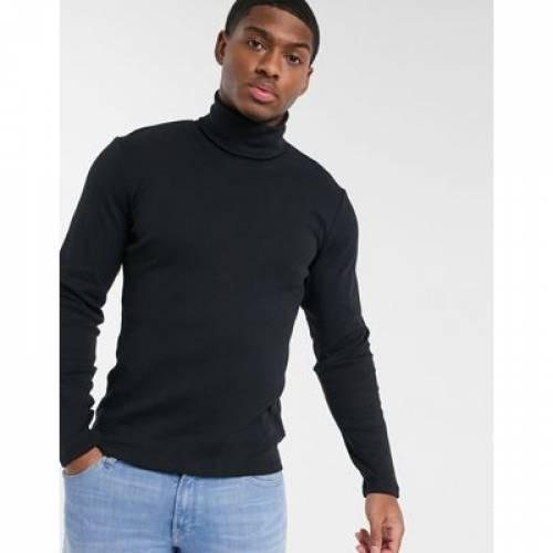 黒 ブラック メンズファッション トップス 【 BLACK ESPRIT ORGANIC ROLL NECK JUMPER IN 】