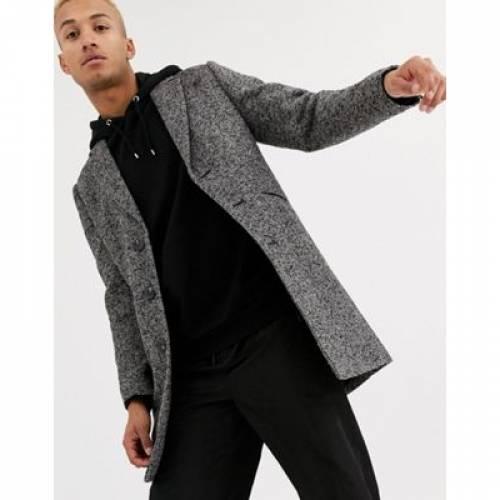 灰色 グレ テクスチャー メンズファッション コート ジャケット 【 ASOS DESIGN WOOL MIX OVERCOAT IN GREY TEXTURE 】