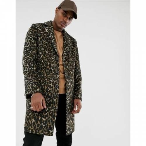 メンズファッション コート ジャケット 【 ASOS DESIGN WOOL MIX OVERCOAT IN LEOPARD PRINT 】