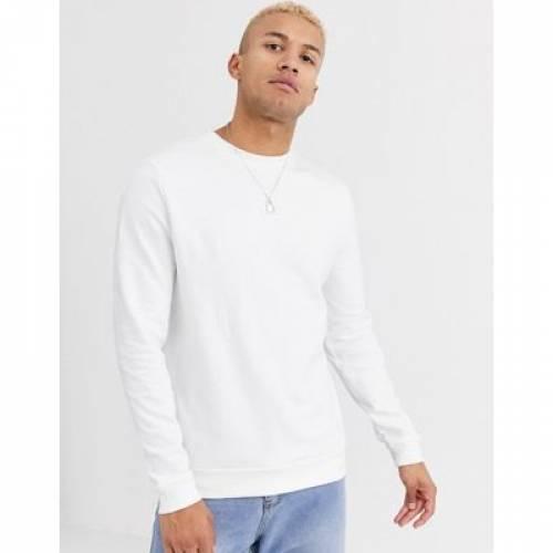 白 ホワイト メンズファッション トップス スウェット トレーナー 【 WHITE ASOS DESIGN ORGANIC SWEATSHIRT IN 】