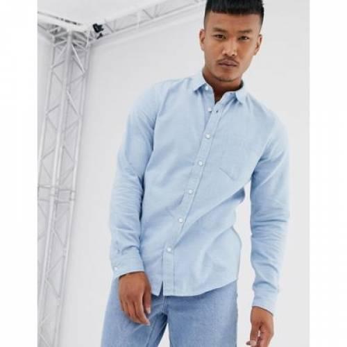 青 ブルー メンズファッション トップス 【 BLUE ASOS DESIGN REGULAR FIT FLANNEL MARL SHIRT IN LIGHT 】