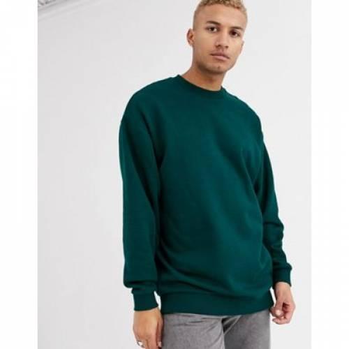 緑 グリーン メンズファッション トップス スウェット トレーナー 【 GREEN ASOS DESIGN OVERSIZED LONGLINE SWEATSHIRT IN DARK 】