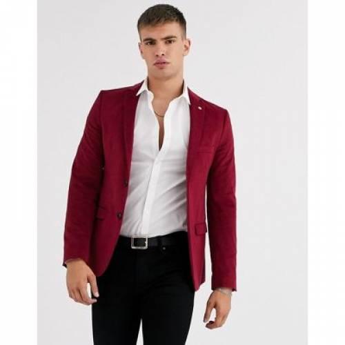 ワイン色 バーガンディー メンズファッション コート ジャケット 【 AVAIL LONDON SKINNY SUIT JACKET IN BURGUNDY VELVET 】 ※セットアップではありません