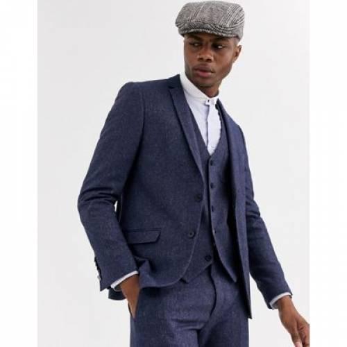 スリム 紺 ネイビー & メンズファッション コート ジャケット 【 SLIM NAVY SHELBY SONS SUIT JACKET WITH CONTRAST COLLAR IN 】 ※セットアップではありません