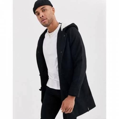 ダッフルバッグ 黒 ブラック メンズファッション コート ジャケット 【 BLACK BERSHKA DUFFLE COAT IN 】