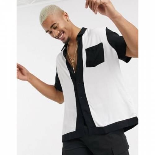 黒 ブラック 白 ホワイト & メンズファッション トップス 【 BLACK WHITE ASOS DESIGNS RELAXED FIT CUT SEW SHIRT IN 】