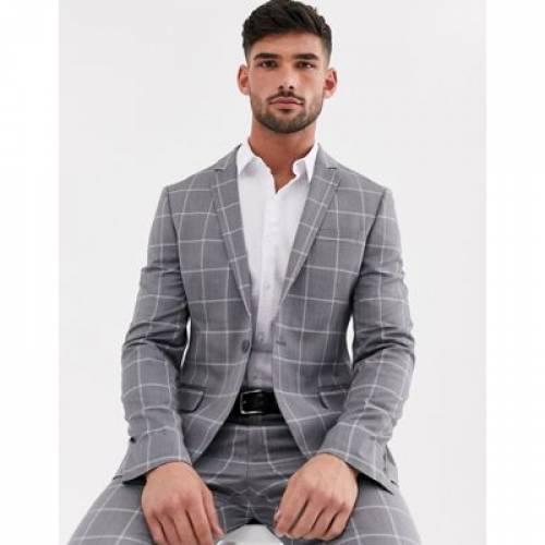 灰色 グレ メンズファッション コート ジャケット 【 ASOS DESIGN SUPER SKINNY SUIT JACKET IN LIGHT GREY WINDOWPANE CHECK 】 ※セットアップではありません