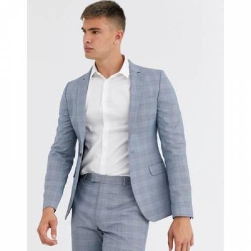 青 ブルー メンズファッション コート ジャケット 【 BLUE ASOS DESIGN SUPER SKINNY SUIT JACKET IN DUSKY PUPPYTOOTH CHECK 】 ※セットアップではありません