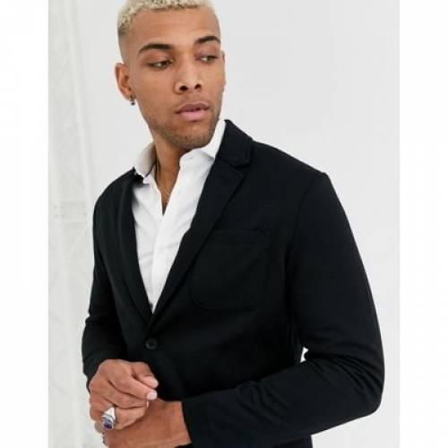 ジャージ 黒 ブラック & メンズファッション トップス Tシャツ カットソー 【 BLACK ONLY SONS RELAXED JERSEY SUIT JACKET IN 】 ※セットアップではありません