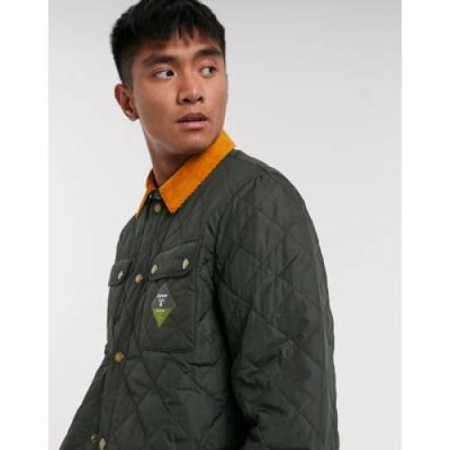 オリーブ メンズファッション コート ジャケット 【 OLIVE BARBOUR BEACON AKEN QUILTED JACKET WITH CONTRAST CORD COLLAR IN 】