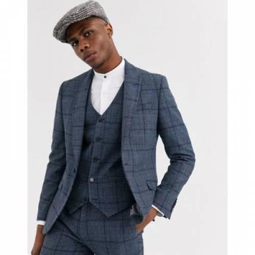 スリム 青 ブルー & メンズファッション コート ジャケット 【 SLIM BLUE SHELBY SONS SUIT JACKET IN CHECK 】 ※セットアップではありません