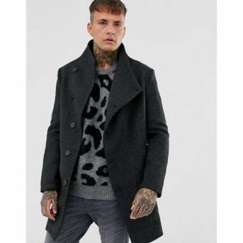 灰色 グレ メンズファッション コート ジャケット 【 RELIGION FUNNEL NECK ASYMMETRIC OVERCOAT IN GREY MARL DOGTOOTH 】