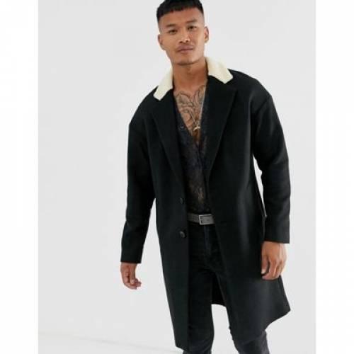 黒 ブラック メンズファッション コート ジャケット 【 BLACK RELIGION DROP SHOULDER OVERCOAT WITH BORG COLLAR IN 】