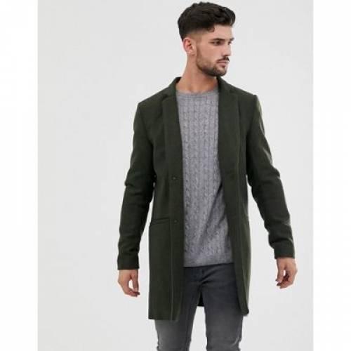 オリーブ & メンズファッション コート ジャケット 【 OLIVE ONLY SONS WOOL OVERCOAT IN 】