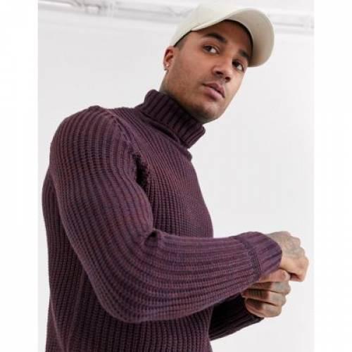 紫 パープル メンズファッション トップス 【 PURPLE BERSHKA KNITTED ROLL NECK JUMPER IN 】